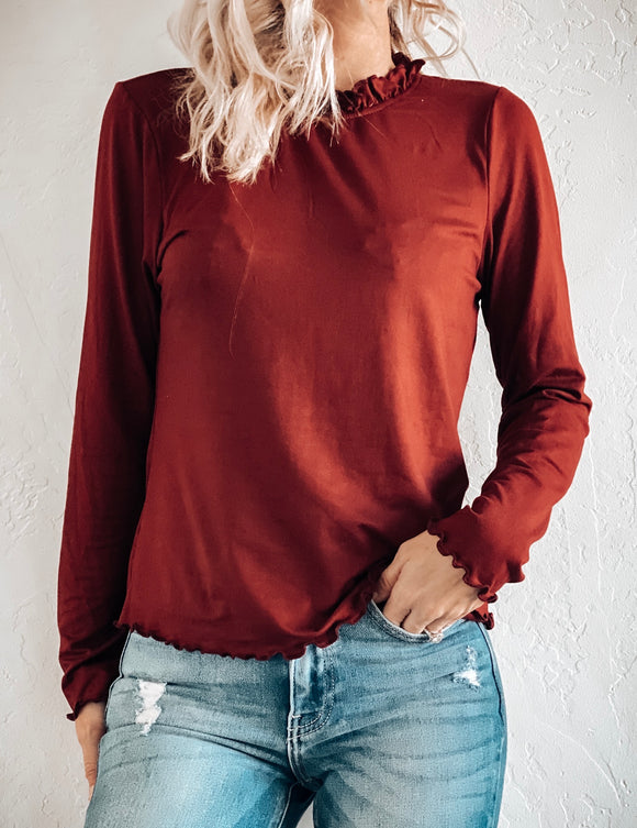 FOR THE FRILL OF IT MOCK NECK TOP IN WINE