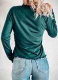 FOR THE FRILL OF IT MOCK NECK TOP IN DARK TEAL