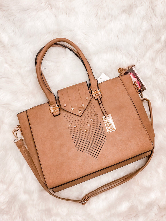 Let Me Lead Handbag in Cognac