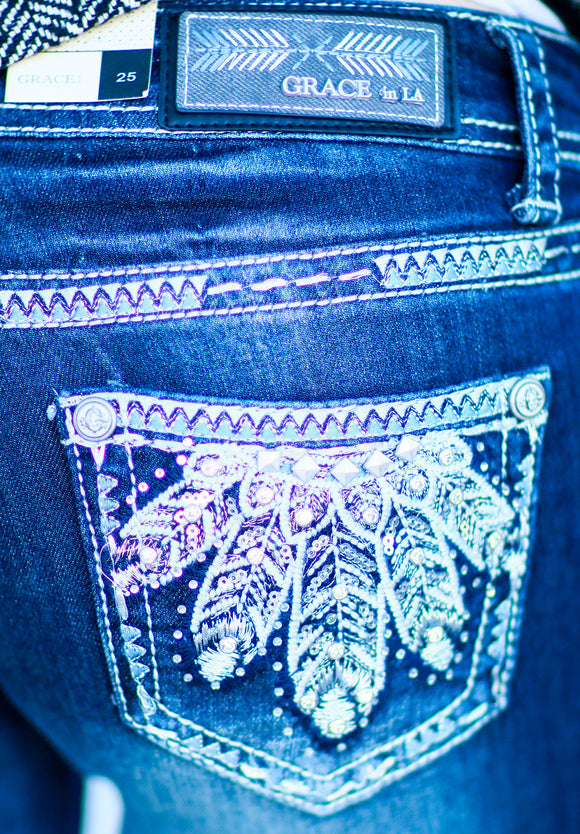 GRACE IN L.A. SNOW FEATHERS BOOTCUT JEANS - decadenceboutique - 1