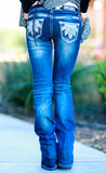 GRACE IN L.A. SNOW FEATHERS BOOTCUT JEANS - decadenceboutique - 2