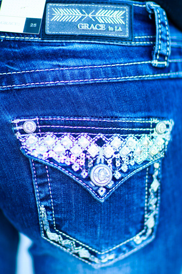 GRACE IN L.A. HIDDEN DIAMOND BOOTCUT JEANS - decadenceboutique - 1