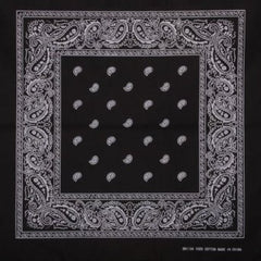 BLACK PAISELY PATTERN BANDANA