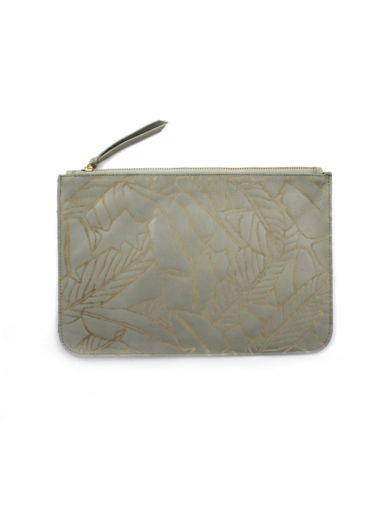 LEATHER BANANA LEAF CLUTCH