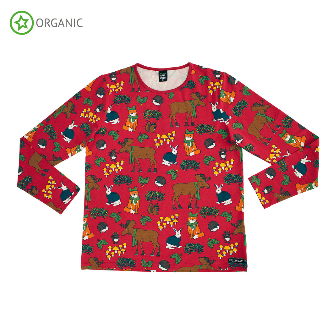 Villervalla Nordic Animals Long Sleeve T-Shirt - Tango
