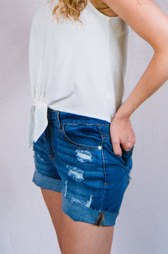 Distressed Denim Short