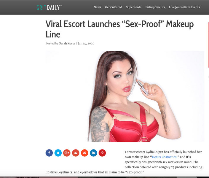 "Grit Daily: Viral Escort Launches ""Sex Proof Makeup Line"""