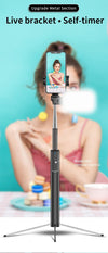 Integrated Portable Metal Selfie Stick With Bluetooth, Remote Control, Selfie Tripod, Telescopic Rod And  Fill Light - www.technoviena.com