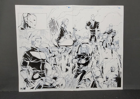 Marvel Harley Davidson Avengers artwork 2 page spread by Hanna and Kodrix