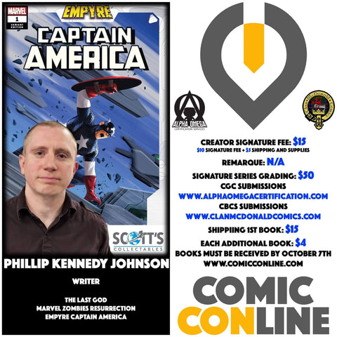 PHILLIP KENNEDY JOHNSON COMIC CONLINE SIGNATURE OPP