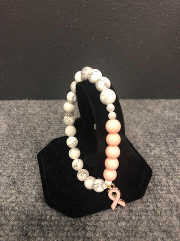 DAYNA'S DELICACIES  BEADED BRACELET-PINK & MARBLE