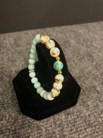 DAYNA'S DELICACIES  BEADED BRACELET-TEAL & MARBLE