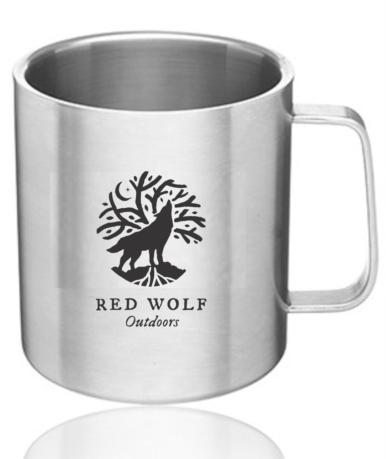 Red Wolf Stainless Steel Mug with Lid