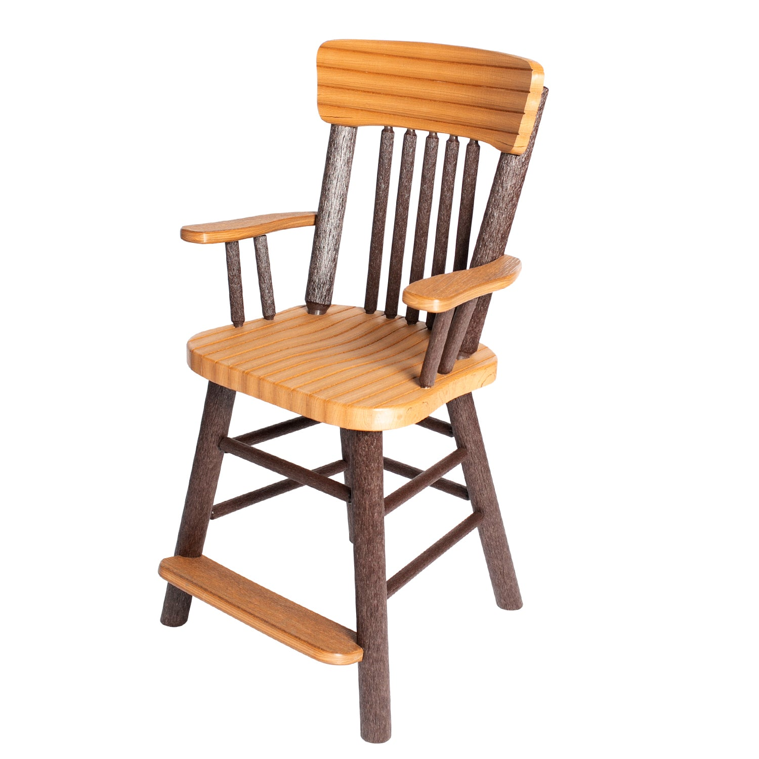 Great Woods Rustic PolyLog Balcony Height Captain's Chair