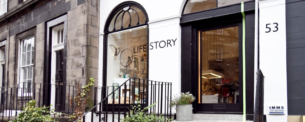 View of the exterior of the Life Story shop on Broughton Street, Edinburgh