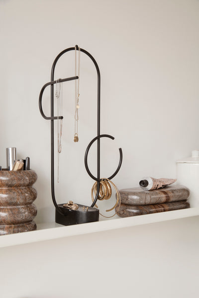 Obu jewellery stand in black and solid marble by ferm LIVING