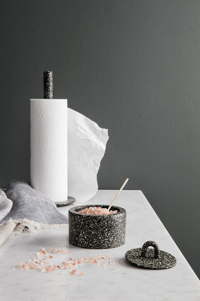 Buckle towel holder in black spotted by ferm LIVING