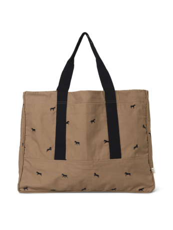 Tan Brown Weekend Bag with Horse Embroidery Motif by Ferm Living