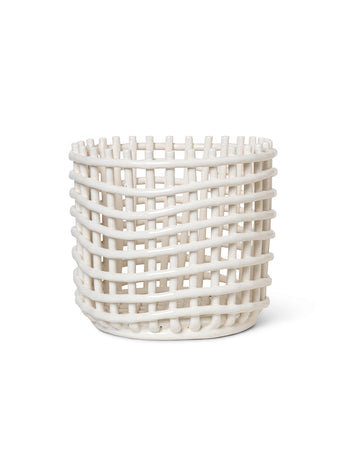 Large Ceramic Basket in White | Woven | by ferm LIVING