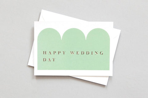 Happy Wedding Day Card in Green & Rose Gold by ola