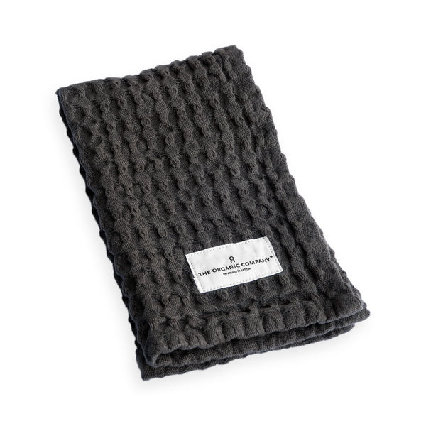 Big Waffle Kitchen and Wash Cloth in Dark Grey by The Organic Company