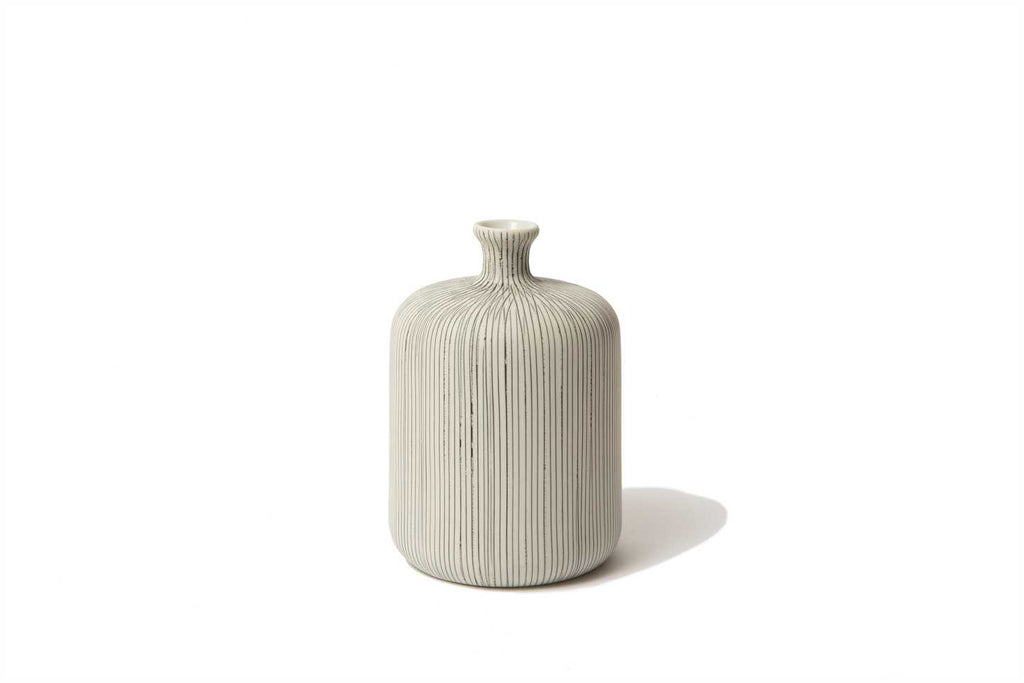 Bottle Vase in Grey Stripe - Medium - with gift box by Lindform