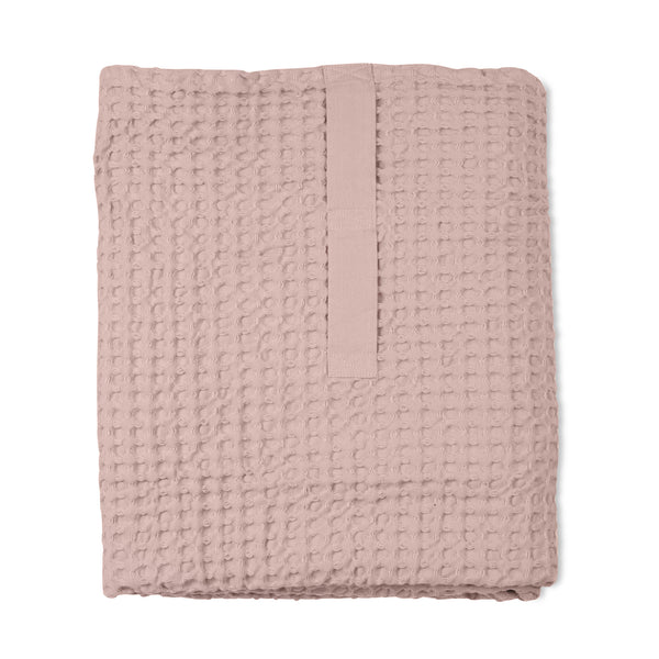 Big Waffle Bath Towel and Blanket in Pale Rose by The Organic Company