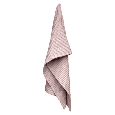 Big Waffle Medium Towel in Pale Rose by The Organic Company