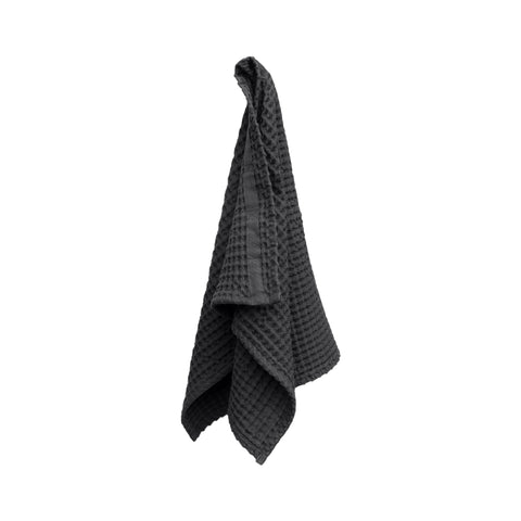 Big Waffle Hand Towel in Dark Grey by The Organic Company