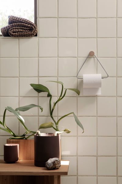 Chrome and Wood Toilet Paper Holder by ferm Living
