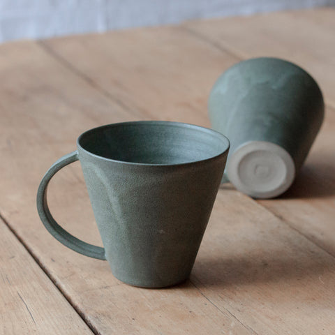 Large Mug with Handle in Dark Greenish Grey by Hands On Clay