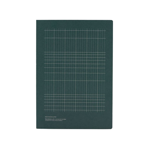 Geometric Notebook in Dark Green - Large - with sketch pages - by Monograph