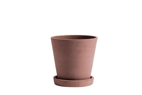 Flowerpot with saucer - MEDIUM - Terracotta plant pot - polystone by HAY