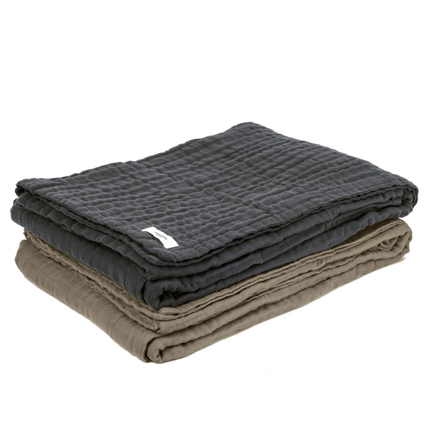 Six Layer Soft Blanket in Dark Grey by The Organic Company