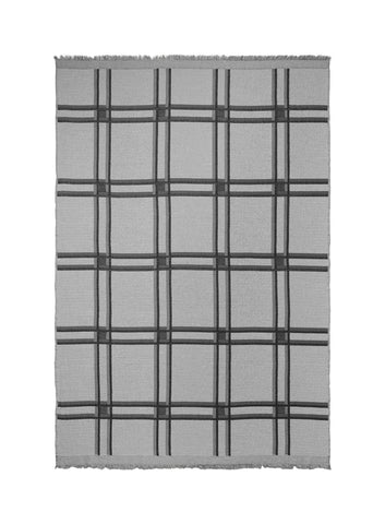 Checked Wool Blend Blanket in black & grey by ferm LIVING