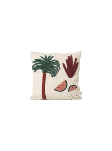 Palm cushion in off white & green by ferm LIVING