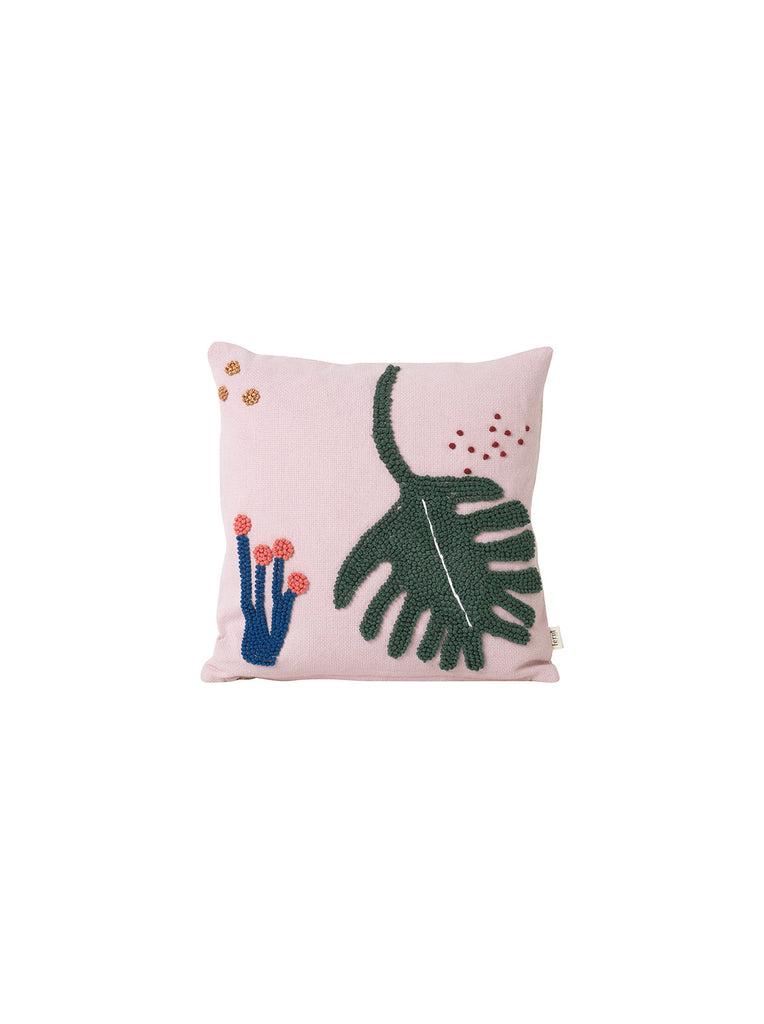 Monstera Leaf cushion in pink & green by ferm LIVING