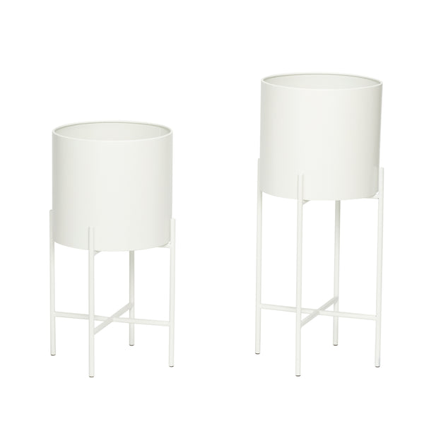 Pot / Planter with leg, white, planter - set of 2 by Hubsch