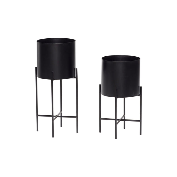 Large Pot / Planter with legs, black metal by Hubsch