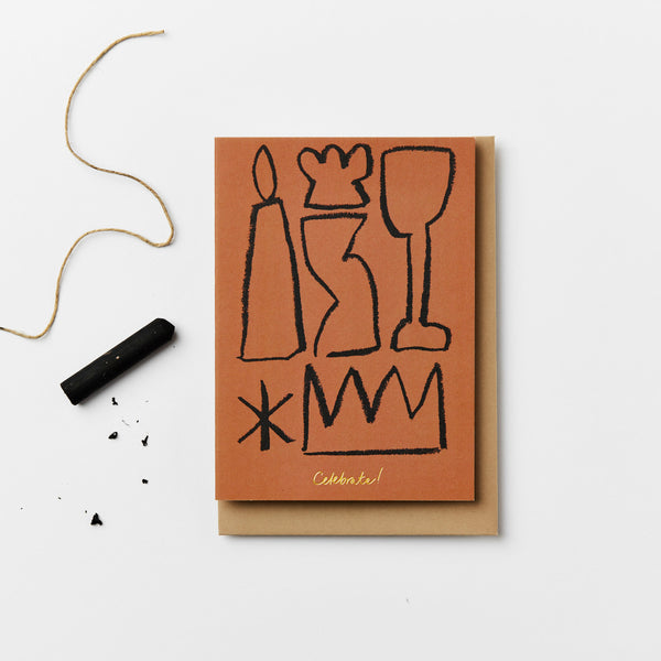 Celebrate Card in Terracotta by Kinshipped x AEAND