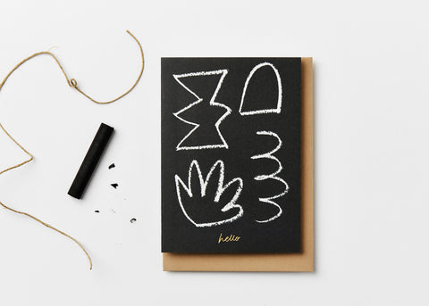 Hello Card in black by Kinshipped x AEAND