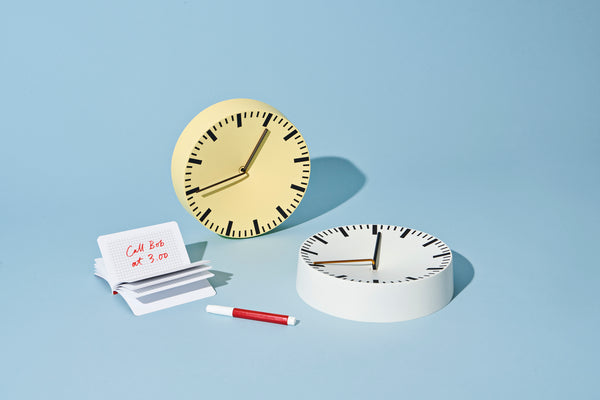 Analog Clock in Light Yellow by HAY
