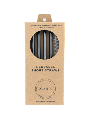 Reusable metal short straw - set of 4 with brush - Black - by Ayaida