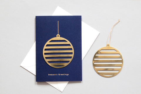 Solid Brass Ornament Card, Bauble on Navy by ola