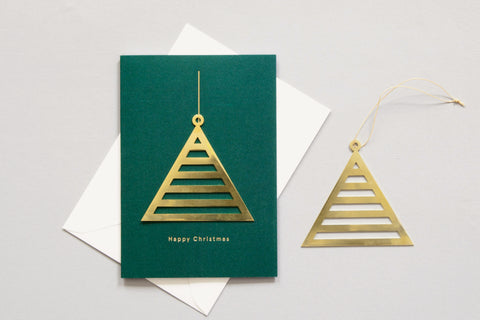 Solid Brass Ornament Card, Triangle on Forest Green by ola