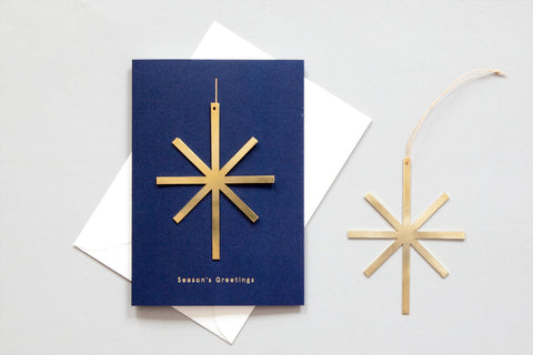 Solid Brass Ornament Card, Star on Navy by ola