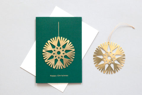 Solid Brass Ornament Card, Snowflake Bauble on Forest Green by ola