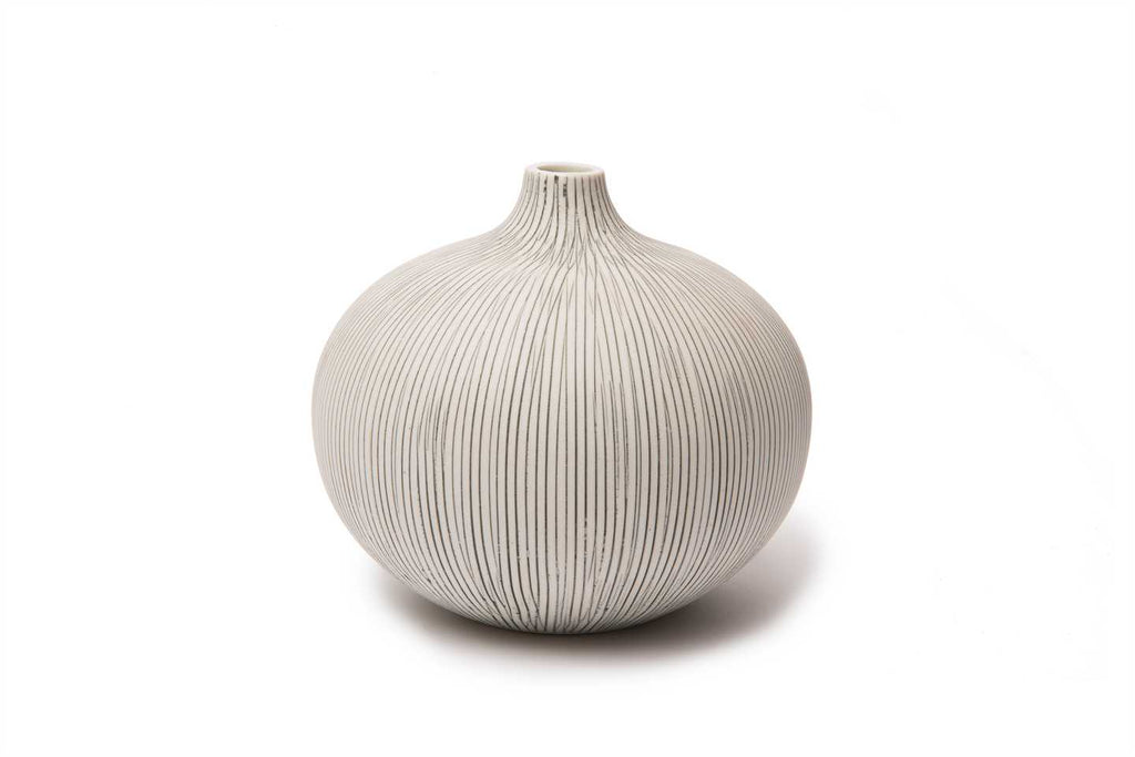 Vase 'Bari' In Grey Stripe Large with box by Lindform