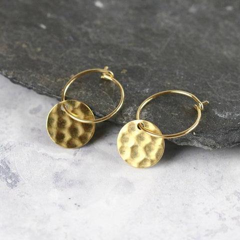 Small Hammered Brass Circle Hoops