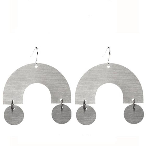 Building Block Arc Pendant Earrings in Stainless Steel by Days Of August